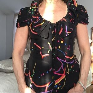 Prada top blouse silk size it 38  2 multi color